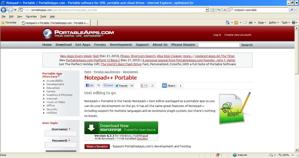 Downloading Notepad++